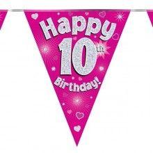 Vlaggenlijn Happy 10th Birthday roze holografisch, 3.9 mtr