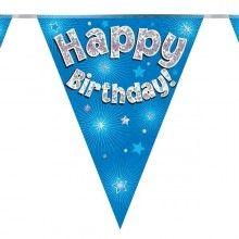 Vlaggenlijn Happy birthday blauw holografisch, 3.9 mtr