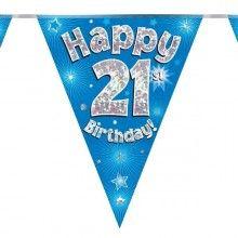 Vlaggenlijn holografisch Happy 21th birthday blauw, 3.9 mtr