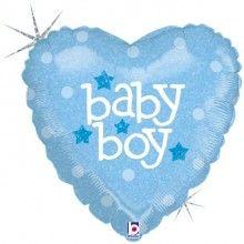 Folieballon baby boy heart