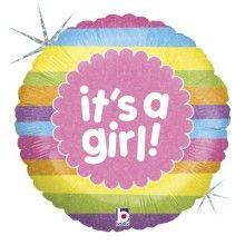 Folieballon it's a girl rainbow stripes