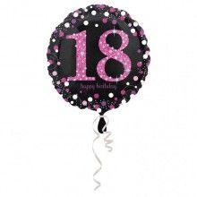 Folieballon sparkling Happy Birthday pink 18 jaar
