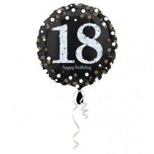 Folieballon sparkling Happy Birthday goud 18 jaar