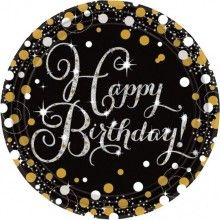 Borden sparkling Happy Birthday zwart zilver, 8 stuks