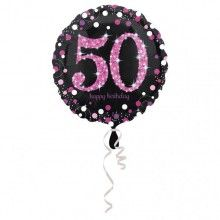 Folieballon sparkling Happy Birthday pink 50 jaar
