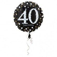 Folieballon sparkling Happy Birthday goud 40 jaar