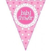 Vlaggenlijn Babyshower girl, glitter pink