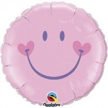 Folieballon Smiley pink