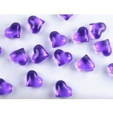 Kristallen hartjes 21mm paars, zakje 30 stuks