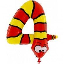 Folieballon Animaloon cijfer 4