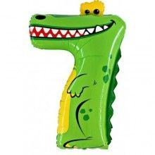 Folieballon cijfers 100cm Animaloon 7 krokodil