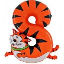 Folieballon cijfers 100cm Animaloon 8 rode kat