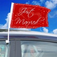 Autovlaggen Just Married rood-wit 2 stuks
