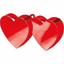 Ballongewicht hart dubbel rood 170 gram, per stuk