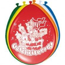 Ballon 30cm Gefeliciteerd mix, 8 stuks