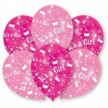 Ballonnen geboorte meisje It's a Girl metallic roze/lichtroze , 6 stuks