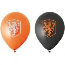 Ballonnen 30cm KNVB oranje zwart met leeuw, 8 stuks