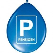 Ballonnen pensioen parkeerbord, 8 stuks