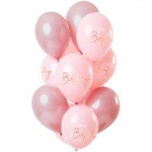 Ballonnen 30cm Happy Birthday lush Blush, 12 stuks