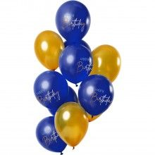 Ballonnen 30cm Happy Birthday true blue, 12 stuks