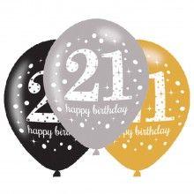Ballonnen sparkling Happy Birthday goud 21 jaar, 6 stuks