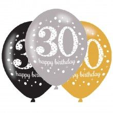 Ballonnen sparkling Happy Birthday goud 30 jaar, 6 stuks