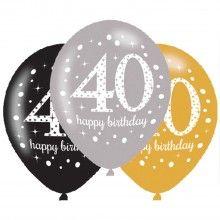 Ballonnen sparkling Happy Birthday goud 40 jaar, 6 stuks