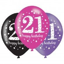 Ballonnen sparkling Happy Birthday pink 21 jaar, 6 stuks