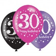 Ballonnen sparkling Happy Birthday pink 30 jaar, 6 stuks