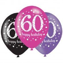 Ballonnen sparkling Happy Birthday pink 60 jaar, 6 stuks