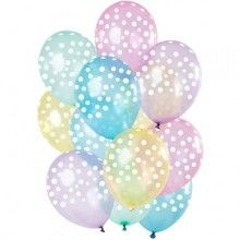 Ballonnen set pastel transparant met stippen, 12 stuks