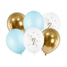 Ballonnenset verjaardag 1 jaar blauw-wit-goud, 6 ballonnen