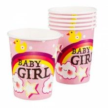 Bekers Baby Girl regenboog 250ml, 6 stuks