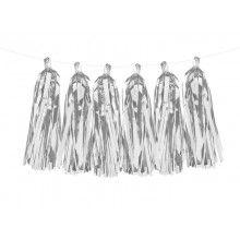 Luxe tassel slinger zilver metallic, 2 meter