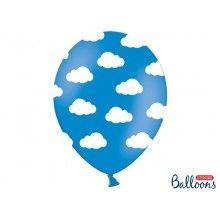 Ballon 30cm blauw met witte wolkjes, 6 stuks