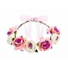 Bloemen kroon met witte en roze bloemen, verstelbaar