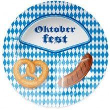 Bord 23cm Oktoberfest Pretzel und Bratwurst, 8 stuks