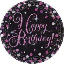 Borden sparkling Happy Birthday pink, 8 stuks