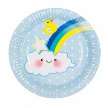 Bord 23cm Baby Boy regenboog, 6 stuks