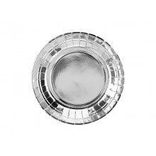 Bordje 18cm zilver rond, 6 stuks