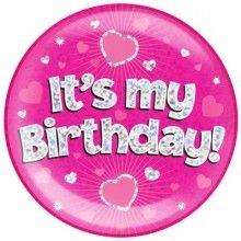 Button XL roze It's my Birthday! roze holografisch