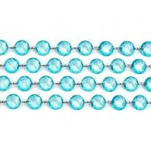 Kristal slinger turquoise, lengte 1 meter