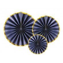 Luxe papieren waaiers navy blauw met goud metallic, set 3 stuks