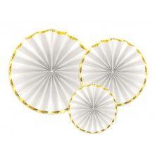 Luxe papieren waaiers wit met goud metallic, set 3 stuks