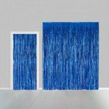 Deurgordijn blauw metallic 100 x 240cm