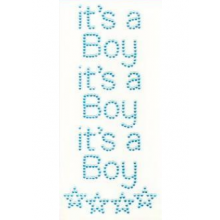 Diamant craft stickers It's a Boy met sterren, set 3 stuks