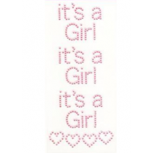 Diamant craft stickers It's a Girl met hartjes, set 3 stuks