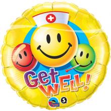 Folieballon 45cm emoticon Get well Smiley