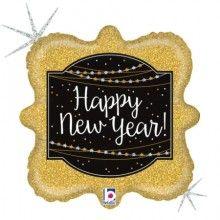 Folieballon 46cm Happy New Year glitter