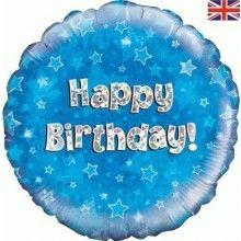 Folieballon 45cm Happy Birthday blauw holografisch